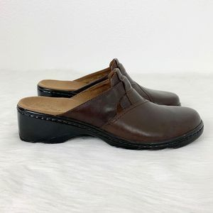 Clarks Brown Leather Slip On Clog Shoes Comfy 10M